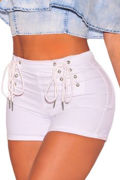 White Denim Double Lace Up Hot Shorts - Women's Shorts and Bottoms Denim And Lace, White Denim Shorts, Ripped Shorts, High Waisted Shorts, Blue Denim, White Jeans, Sexy Jeans, Sexy Shorts, Women Shorts