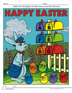 Colour by note activities for Easter! Free for Crescendo members, or $3 on Teachers Pay Teachers.