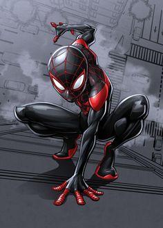 Spider-Man (Miles Morales) by Marvel Black Spiderman, Amazing Spiderman, Spiderman Spider, Marvel Comics, Marvel Art, Marvel Heroes, Marvel Avengers, Spider Men, Miles Morales Spiderman