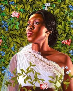 "A new painting from artist Kehinde Wiley, Dacia Carter, 2012. From his ""An Economy of Grace,"" a series of African-American female portraits inspired by historical paintings that will be shown at the Sean Kelly Gallery in New York City from May 5-June 16."