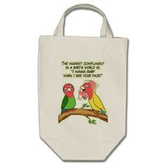 Lovebird parrot and bird way telling i love you tote bag. Cute cartoon bird drawing for unique gifts #birdthemedgifts #giftsforbirdlovers #funnyparrot #petparrot #birdart #birdcomic #parrotdrawing #petopet #emmilthomas #cockatoo #lovebird #finch #parrotlovers #iloveparrots #parrottotebag