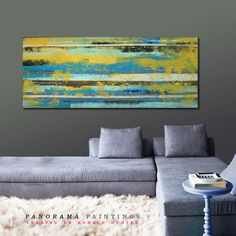 Landscape Abstract painting   Yellow Blue door PanoramaPaintings, $419.00