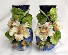 french pottery | Antique 19th Century French Faience Limoges Barbotine Majolica Pottery ... English Pottery, Clay Vase, Ceramics Projects, China Painting, Glass Ceramic, Antique China, Sculpture, Pottery Art, Decorative Accessories