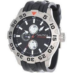 Nautica Men's N15564G BFD 100 Multifunction Black Dial Band Analog Quartz Watch