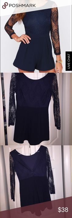 Navy Blue Lulu's lace romper Love this romper! Perfect for a night out and it's in perfect condition, worn once! Lulu's Pants Jumpsuits & Rompers