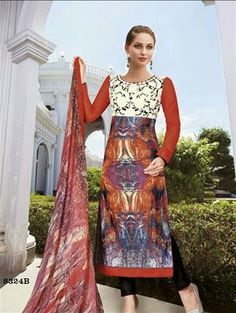 Attractive And Stunning Lawn Cotton Straight Cut Suit With Bamberg Chiffon Dupatta Indian Suits, Pakistani Suits, Latest Salwar Suits, Salwar Kameez Online, Wedding Attire, Casual Wear, Chiffon, Two Piece Skirt Set, Sari