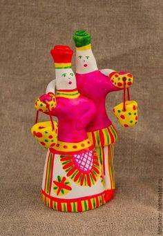 Парочка с коромыслом в интернет-магазине на Ярмарке Мастеров. Традиционная филимоновская игрушка.