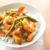 Thai Shrimp Curry Recipe -- This 30-minute dish incorporates squash with a classic Thai curry. #myplate #protein #vegetables #grain
