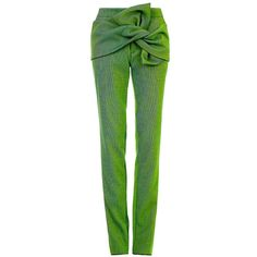 Maticevski Spring Green Mercury Knot Trousers ($454) ❤ liked on Polyvore featuring pants, capris, green pants, slim fit trousers, cotton pants, maticevski and slim fit pants