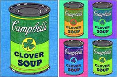 Art Projects for Kids: Ode to Warhol Soup Can Mural Kids Art Class, Art Lessons For Kids, Art Lessons Elementary, Art For Kids, Cute Art Projects, Projects For Kids, Project Ideas, St Patrick Day Activities, 6th Grade Art