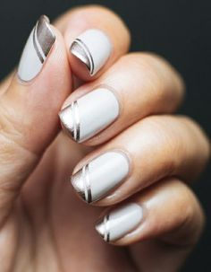 Silver glamchrome cut out nail design cutout nail designs find this pin and more on nails prinsesfo Gallery