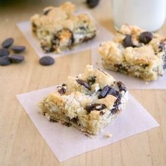 Chocolate chip cookie bars with coconut and Mounds candy.
