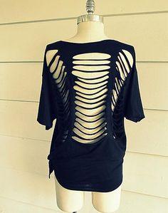 DIY Clothes Refashion: DIY No Sew, Ladder Tee-Shirt,