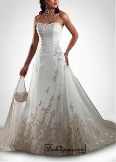 Buy Beautiful Elegant Tulle A-line Sweetheart Wedding Dress In Great Handwork Online Dress Store At LuckyGown.com