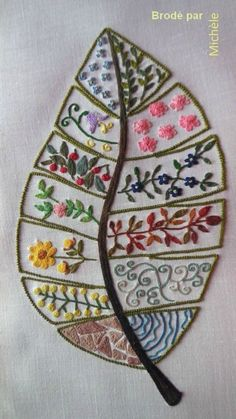 Embroidery Leaf, Embroidery Sampler, Hand Embroidery Stitches, Hand Embroidery Designs, Embroidery Techniques, Cross Stitch Embroidery, Machine Embroidery, Embroidery Needles, Custom Embroidery