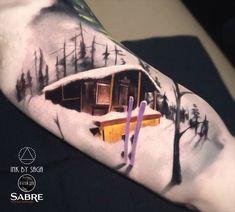 Ski Cabin on Red Mountain   Best tattoo ideas & designs