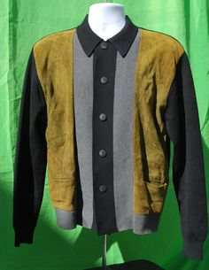Vintage 60's men's sweater leather and wool italian XL rat pack button cardigan rockabilly by thekaliman.