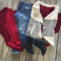"""#NEWARRIVALS  #Grey #Wool #Vest $46.99 S-L #Wine #SheerBack #Top $29.99 S-L #Relaxed #Boyfriends $36.95 S #FreePeople #Booties $198.00 6, 6.5, 7.5-9.5 #PinkPanache #Earrings $28.99 We #ship! Call to order! 903.322.4316 #shopdcs #shoplocal #love #pink #style"" Photo taken by @daviscountrystore on Instagram, pinned via the InstaPin iOS App! http://www.instapinapp.com (09/11/2015)"