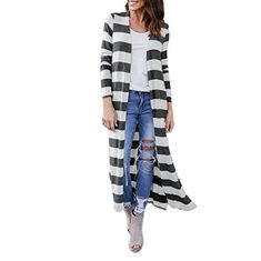 Season:Autumn,Winter Gender:Women  Occasion:Daily,Casual,Sport Material:Polyester Pattern Type: Stripe Style:Casual Sleeve length:Long Sleeve Collar:O-Neck Fit:Fits ture to size Thickness:Standard How to wash:Hand wash Cold,Hang or Line Dry What you get:1*Women Outwear Size...  More details at https://jackets-lovers.bestselleroutlets.com/ladies-coats-jackets-vests/casual-jackets/product-review-for-minisoya-womens-stripe-printed-side-slit-loose-long-cardigan-casual-jacket-ou