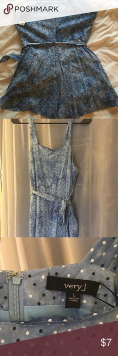 "NWT polka dot tie dye romper Very J Super cute and SOFT Very J romper. Tag says large but fits more like a medium/small. Ties at the waist. Last pic shows some small fraying of the belt. Second to last pic is how the top looks on! I am 5'8"" and it comes to my upper thigh.. a little too short for me! Very J Other"