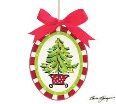 #burtonandburton Ceramic hand-painted flat oval shaped ornament with whimsical tree on the front and red back