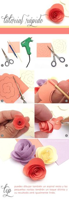 DIY Tutorial: how to make paper flowers. Easy and cute for on top of a present. Paper Flowers Diy, Felt Flowers, Flower Crafts, Fabric Flowers, Craft Flowers, Origami Flowers, Rose Flowers, Diy And Crafts, Crafts For Kids