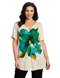 Jones New York Women's Plus-Size Short Sleeve V-Neck Top with Pleating, Light Panama Heather Multi, 2X: Clothing