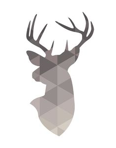 Deer Head Deer Wall Art Geometric Deer Neutrals Deer par PxlNest