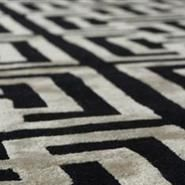 Hand Crafted Geometric Rug, Black And Cream, New Zealand Wool With Art Silk