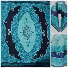 Vintage Silk Scarf Turquoise Blue 100%Pure Silk Square Large Silk Scarf Turquoise  Blue Silk d955c312203