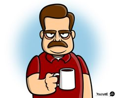 Not getting award season love, Ron Swanson? At least you got a cartoon character and a pin from me. Parks And Rec Characters, Parks And Recs, Cartoon Tv, Cartoon Characters, Tom Parks, Saturday Morning Cartoons, Ron Swanson, Geek Art, Character Design References