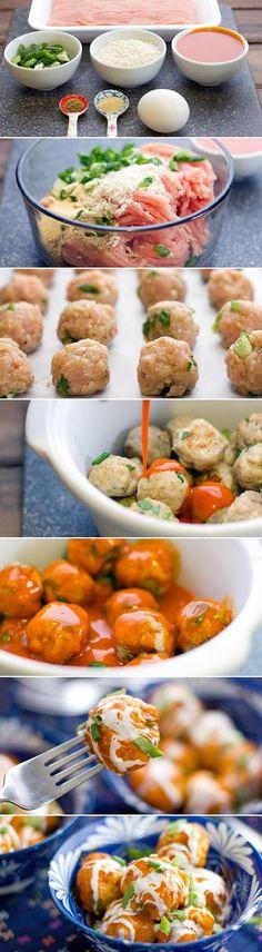 Food & Drink: meatballs and Buffalo chicken...Special Recipe