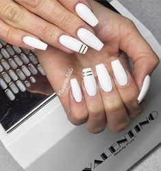 Newest Coffin Acrylic Nail Art Designs 2019 Glitter coffin nails; short, medium and long coffin acrylic nails; White Coffin Nails, White Acrylic Nails, Coffin Nails Long, Best Acrylic Nails, Acrylic Nail Art, Acrylic Nail Designs, Matte White Nails, White Nails With Gold, White Nail Designs