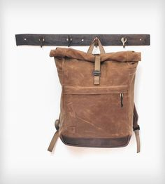 Rolltop Waxed Canvas Backpack With Leather Base