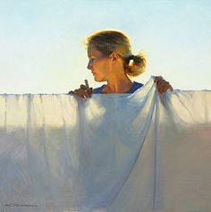 """White Sheet"" by Jeffrey T. Larson, oil on canvas"