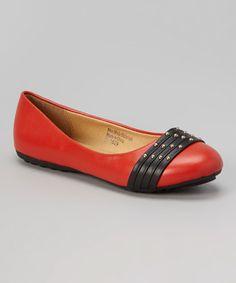 Look at this #zulilyfind! Red & Black Studded Vamp Flat #zulilyfinds 14.99