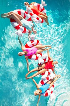 """""""Aqualillies on Peppermint Pool Floats"""" photo by Fred Moser in Palm Springs with Kelly Golightly Photo Vintage, Vintage Swim, Pool Photography, Synchronized Swimming, Pool Fashion, Floating, Pool Floats, Vacation Home Rentals, Pool Days"""