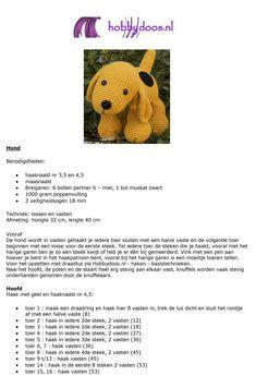 Gratis patroon - Haakpatroon Hond - Hobbydoos.nl Baby Doll Clothes, Doll Clothes Patterns, Baby Dolls, Crochet Toys, Free Crochet, Knit Crochet, Knitting Patterns, Crochet Patterns, Knitted Animals