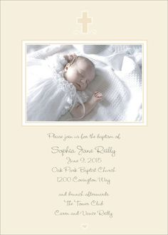 Cream Cross Photo Baptism Invitations
