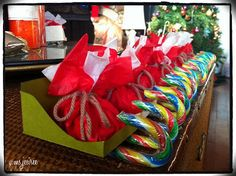Candy Cane Sleigh w/ Santa's Bag of Candies.  I came across this cute idea on the Busy Bee Kids Crafts  site. I decided to make them as giv...