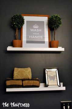 Not so much the black wall paint but I have a weak spot for topiaries! Decor, House Inspiration, Studio Apartment Decorating, Bathroom Transformation, House Colors, Bathroom Design Decor, Black Walls, Black Painted Walls, Home Decor