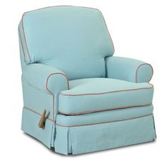 The Bingham Gliding Recliner Chair is a great chair for any room in the house.  Featuring paneled arms, a kick pleat skirt, and a knife-edge welt, this stylish recliner is perfect for snuggling with your baby at naptime