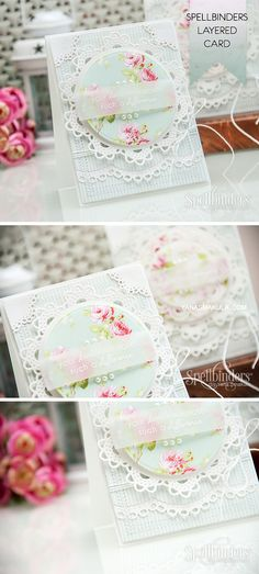 Create elegant cards using Spellbinders Circle Delight die templates and First Edition Bella Rose Papers. For a video tutorial and more info, please click here http://www.yanasmakula.com/?p=49733