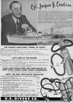 "Scuba diving: Captain Jacques Cousteau developed and marketed the ""Aqua Lung"" in 1958 Best Scuba Diving, Scuba Diving Gear, Cave Diving, Sea Diving, Scuba Shop, Lloyd Bridges, Jacques Yves Cousteau, Kids Book Club, Diving Helmet"