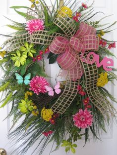 """LOVE PINK- Spring Summer Easter Mothers Day Valentine 36"""" Wreath"""