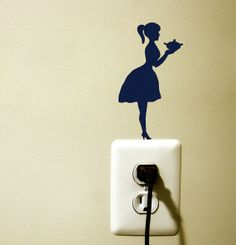 girl silhouette velvet sticker - fabric wall decal- wall decal
