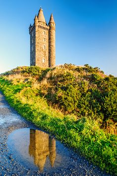Scrabo Tower Reflections. Scrabo Tower is a well known landmark, standing over the town of Newtownards in Northern Ireland, close to Strangford Lough.