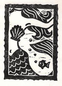 linocut mermaid - Google zoeken