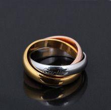 Cartier14K Cartier Cartier rosa anillo de oro ring ring ring el anillo de par Cartier, tres oros, amarillo, rojo y blanco