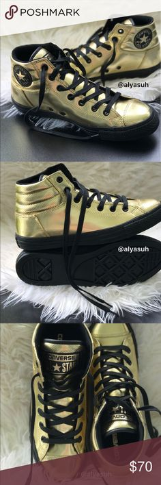 Converse Ctas Fresh HI gold M, size 9 Upper: synthetic, lining: textile, outsole: rubber. Price is firm. No trades. Brand new with no lid box. Converse Shoes Chukka Boots